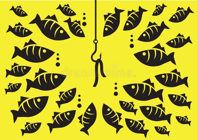 水下的有诱饵传染媒介例证的鱼周围的勾子 库存例证
