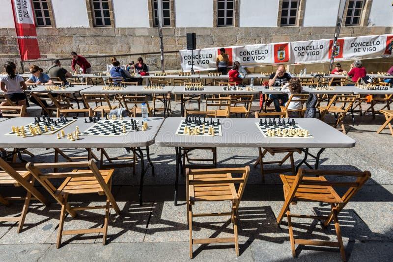 下的棋表在比戈,西班牙的中心 免版税图库摄影