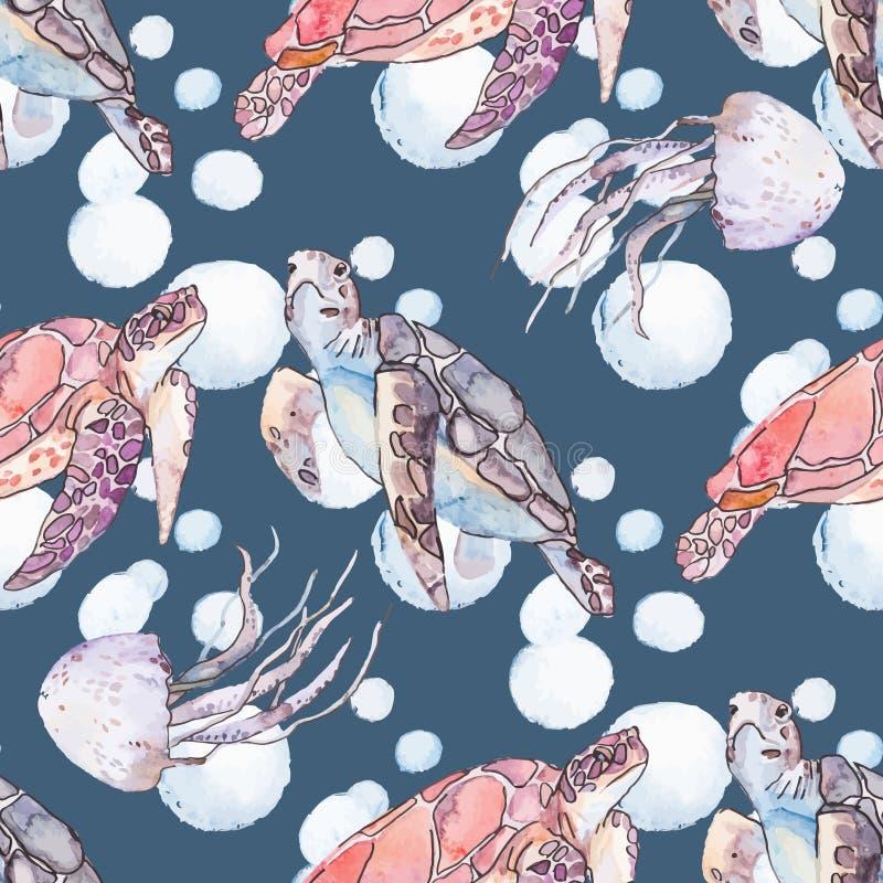 水下的海样式 海龟和水母 海洋 库存例证