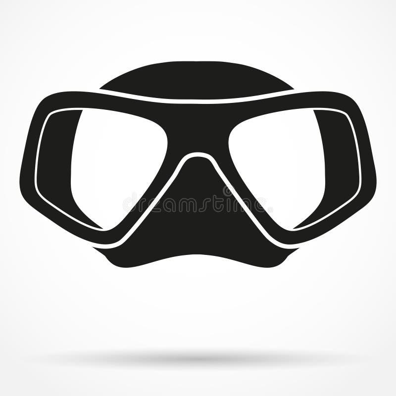 水下的潜水水肺面具的剪影标志 皇族释放例证