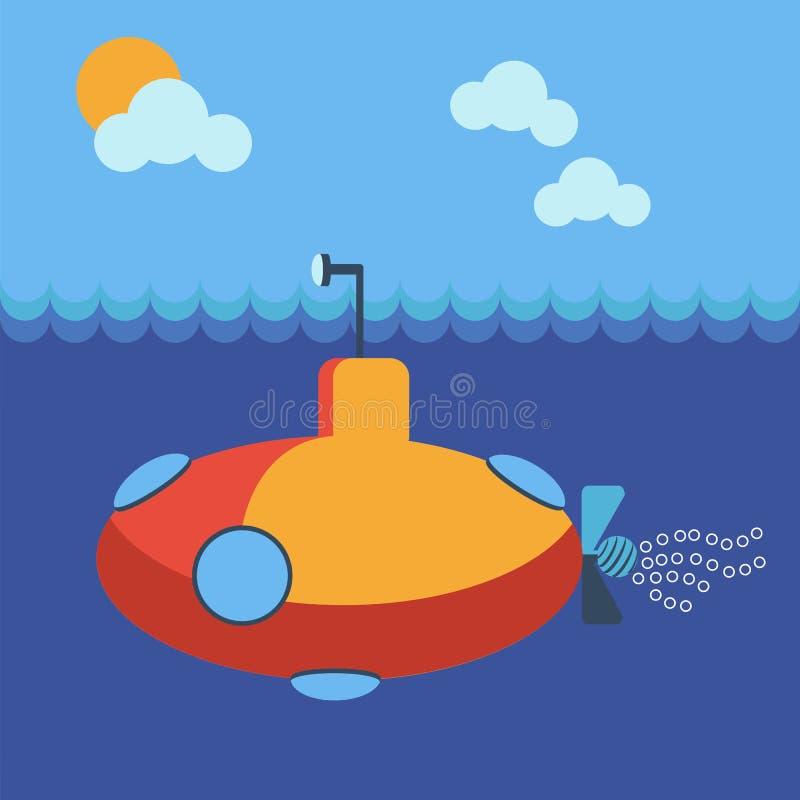 水下的潜水艇 皇族释放例证