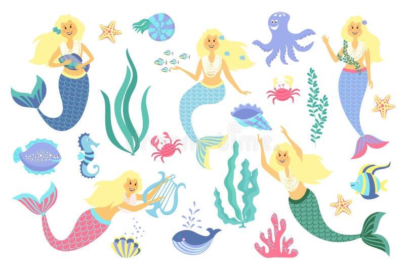 水下的生活收藏 美人鱼、海洋动物和海草在白色背景 库存例证