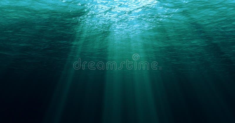 从水下的背景的深蓝色加勒比海浪 免版税库存图片