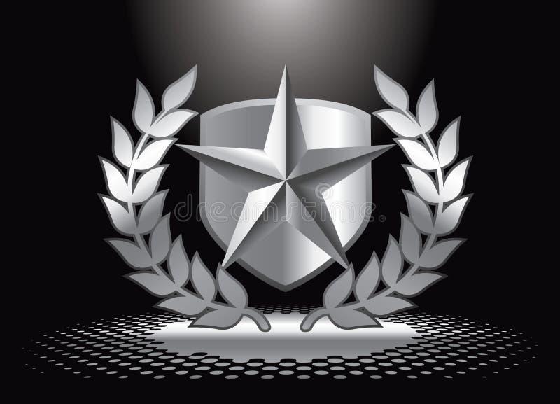 下盾银色聚光灯星形 皇族释放例证