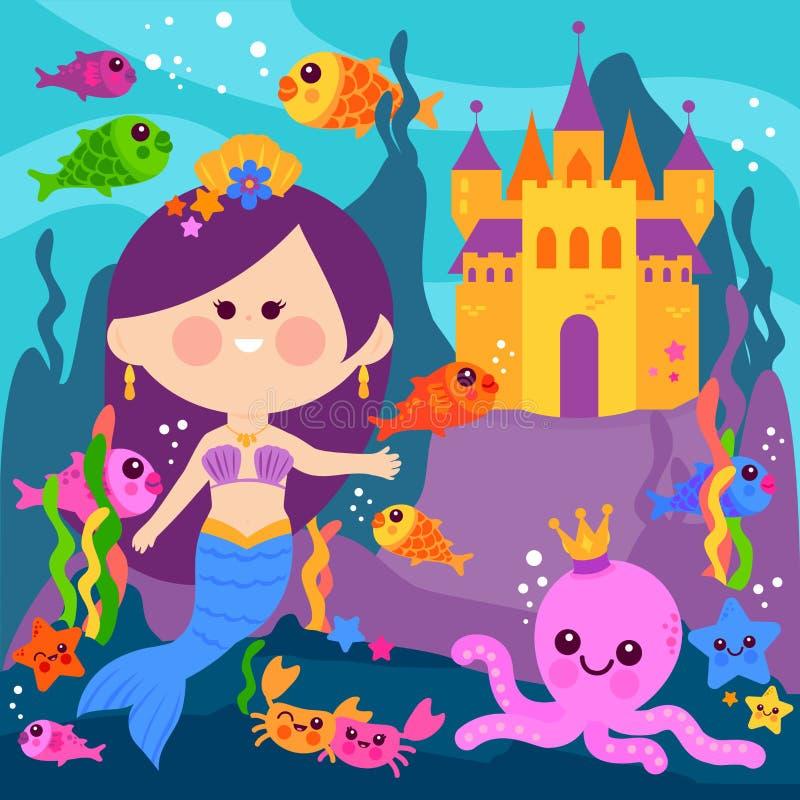 水下美丽的美人鱼,城堡和海洋动物 向量例证