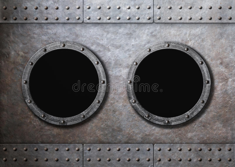 水下老船两舷窗背景 免版税图库摄影
