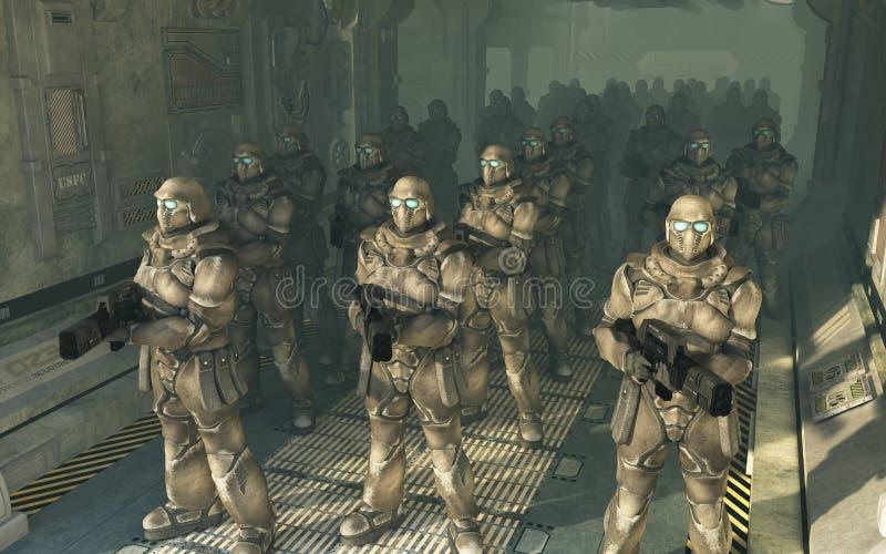 下船海军陆战队员空间对等待 皇族释放例证