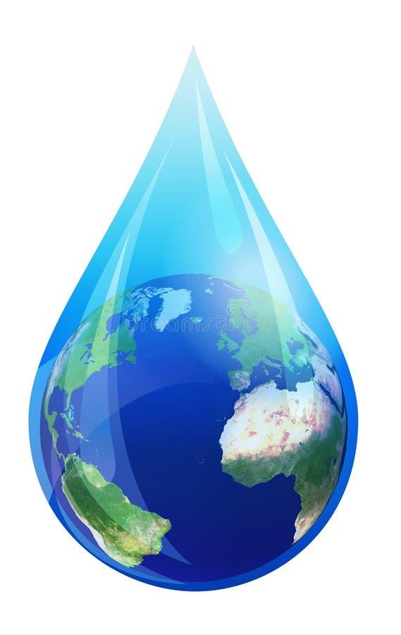 水下落世界,在水滴的地球地球 皇族释放例证
