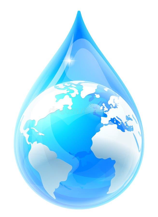 水下落小滴世界地球地球 向量例证