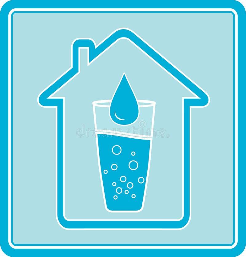 下落玻璃房子图标水 库存例证