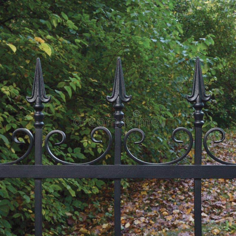 下落的伪造的黑装饰锻铁篱芭特写镜头秋季树背景离开水平的大黑暗的秋天公园现场 免版税库存图片