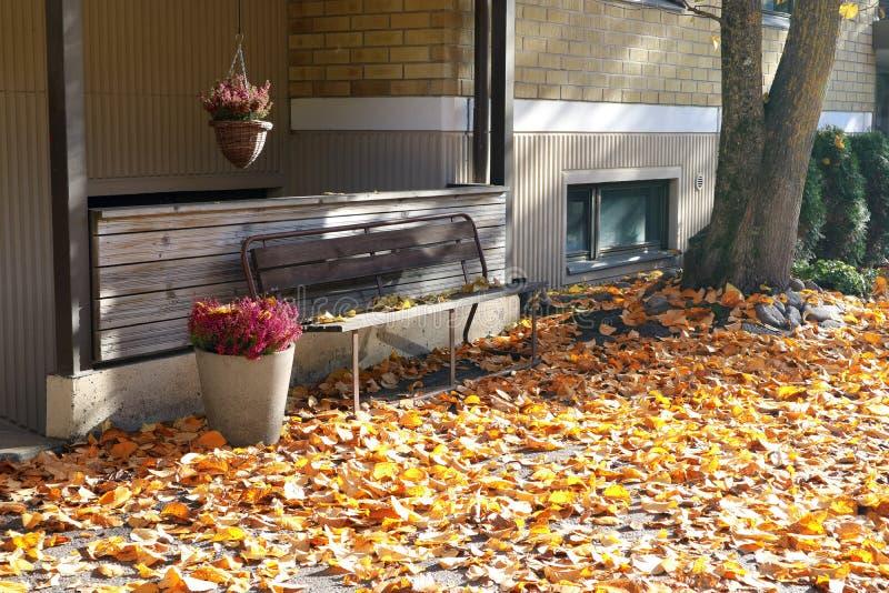 下落的叶子和花围拢的长凳在篮子在秋天 库存图片