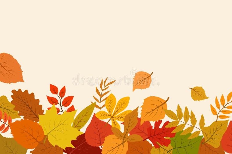 下落的金子和红色秋叶 10月自然传染媒介与叶子边界的摘要背景 库存例证