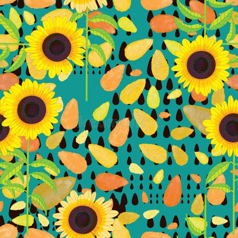 下落水彩向日葵无缝的样式 库存例证