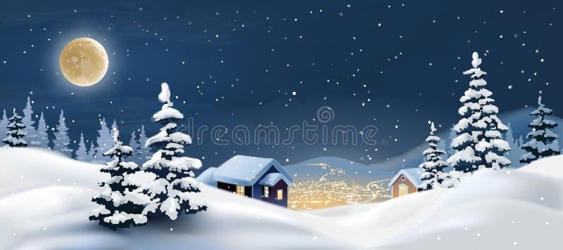 下跌的毛皮例证横向雪结构树冬天 向量例证