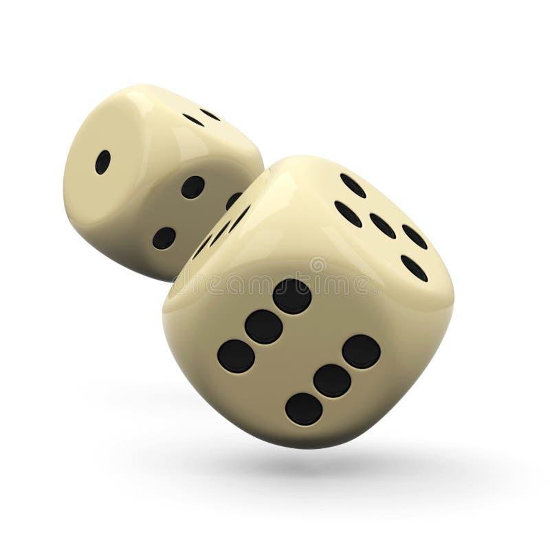 下跌的3D把-古典赌博游戏关闭切成小方块  向量例证