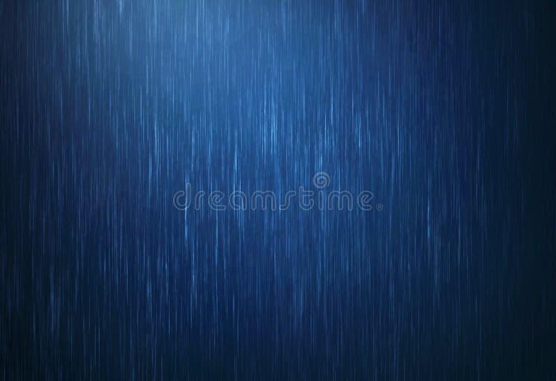 下跌雨水的下落在与深蓝颜色的雨季  免版税库存照片