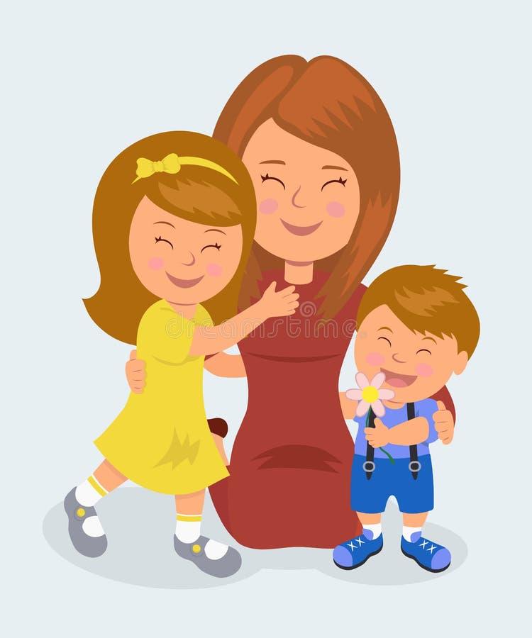 下跪的母亲拥抱她的女儿和儿子 母亲爱的概念他们的孩子的 皇族释放例证