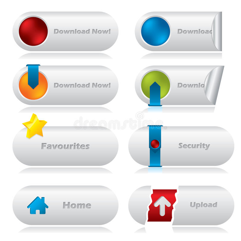 下载与多种要素的万维网按钮 库存例证