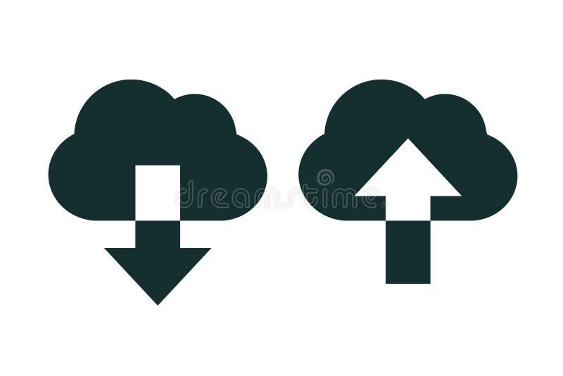下载和加载传染媒介象 流动概念和网络设计的平的标志 与箭头的云彩在简单的象上下-股票的 皇族释放例证
