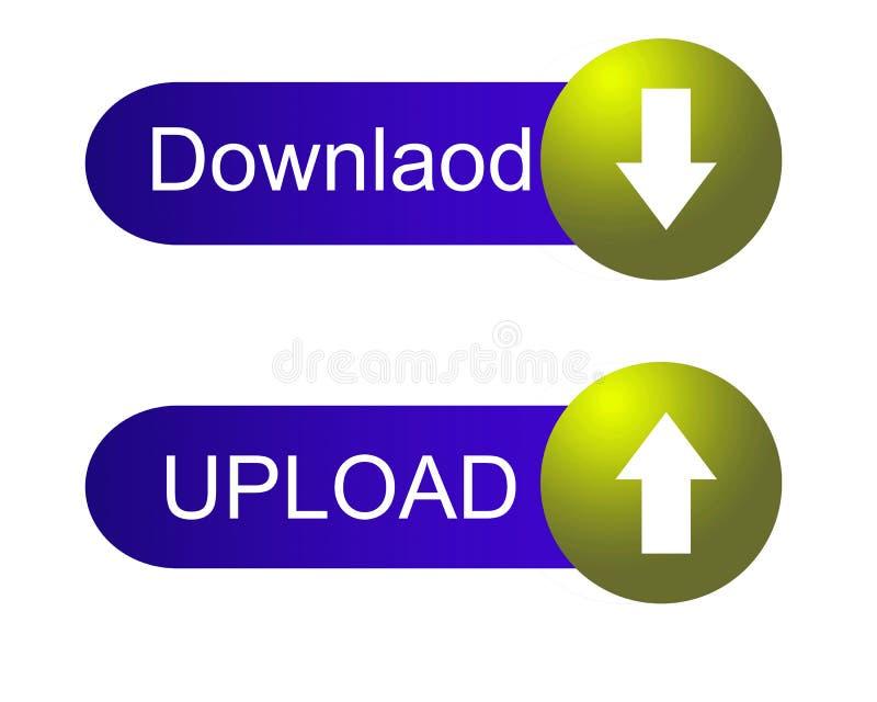 下载和加载蓝色和黄色按钮 向量例证
