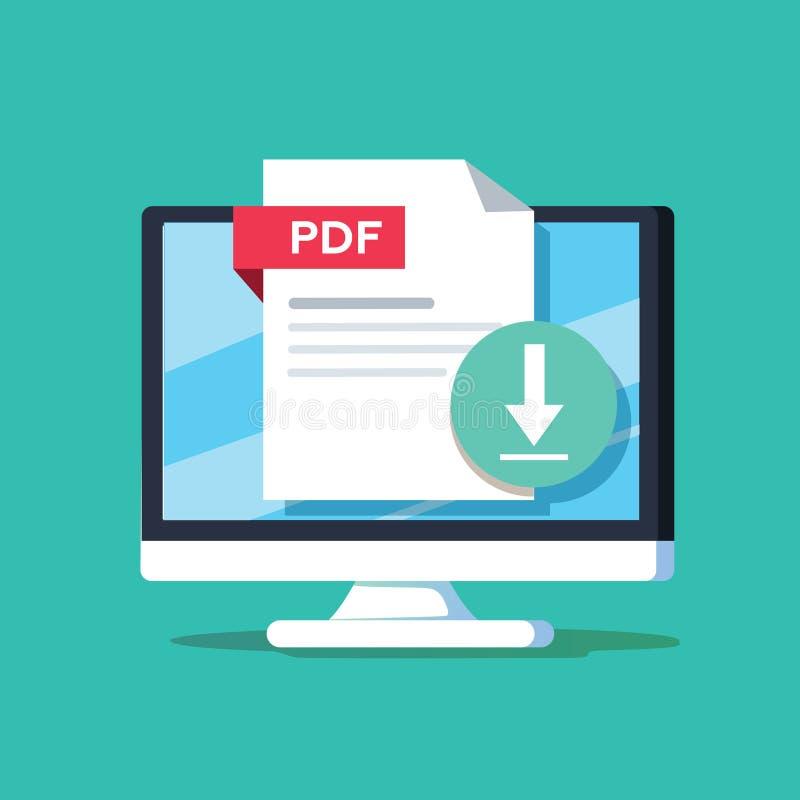下载在桌面屏幕上的PDF按钮 浓缩下载的文件 皇族释放例证