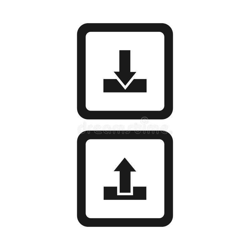 下载并且上载按钮在白色背景的传染媒介象 库存例证