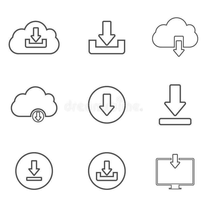 下载或保存标志象设置与云彩 平的样式 向量例证