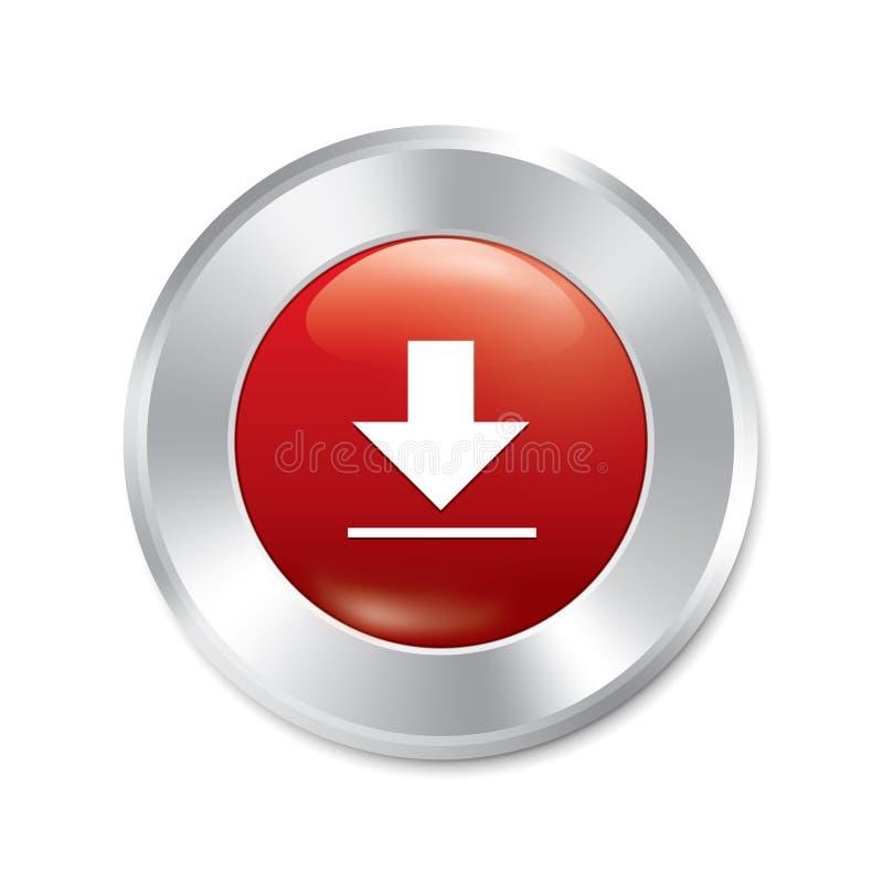下载按钮。红色圆的贴纸。 皇族释放例证
