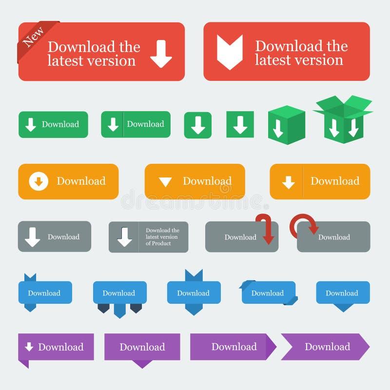 下载按钮/象在平的设计样式设置了 向量例证