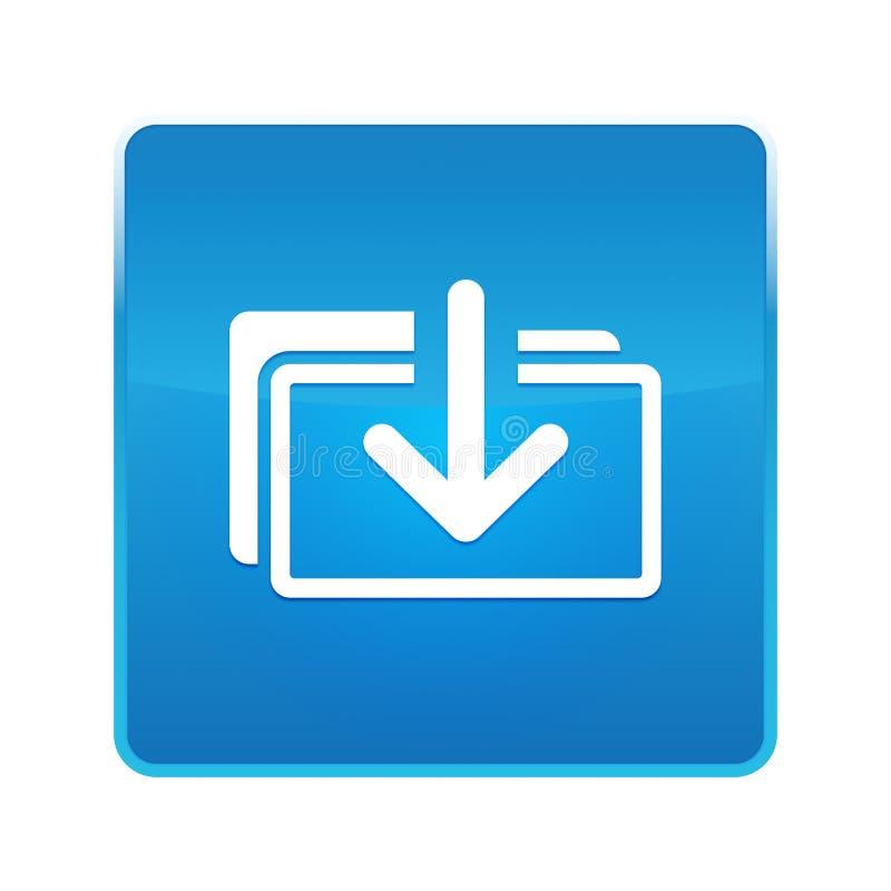 下载文件象发光的蓝色方形的按钮 向量例证
