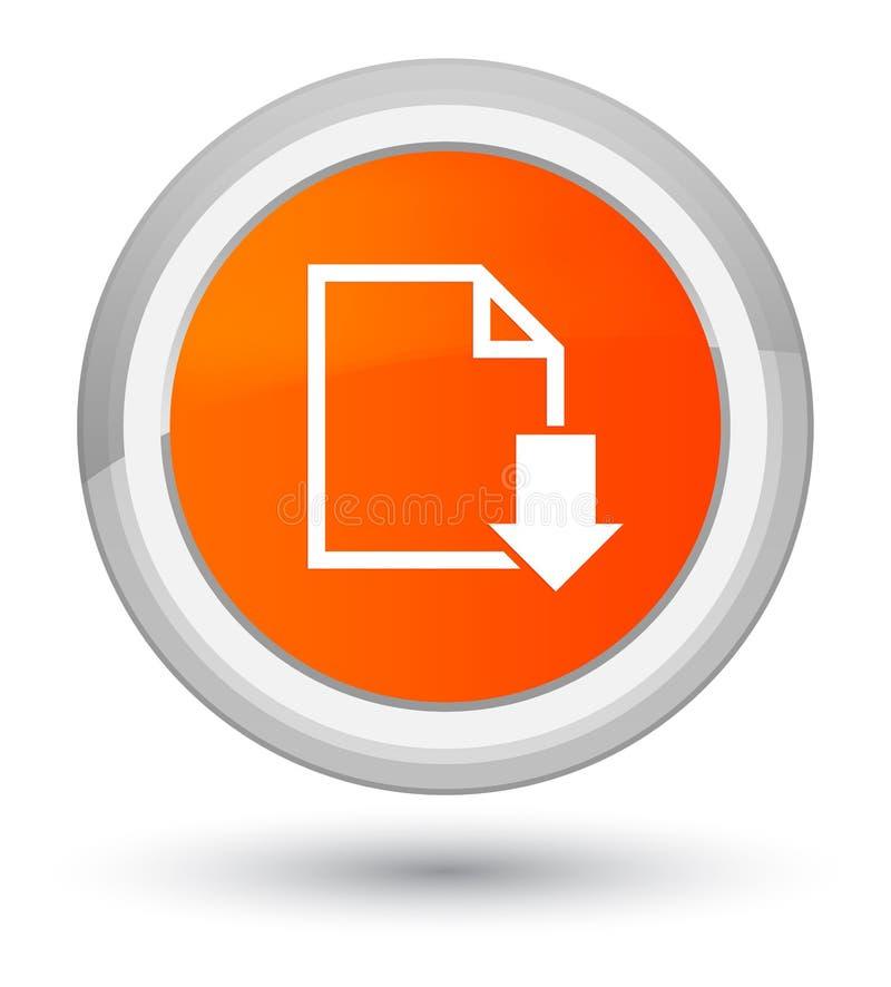 下载文件象最初橙色圆的按钮 皇族释放例证