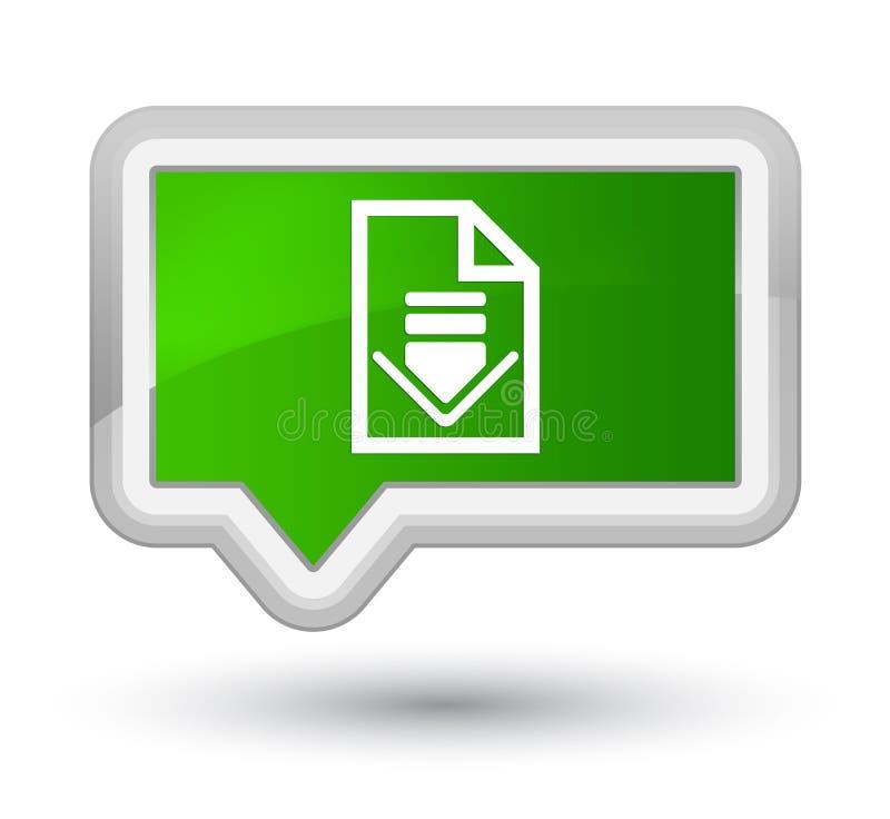 下载文件象最初绿色横幅按钮 向量例证