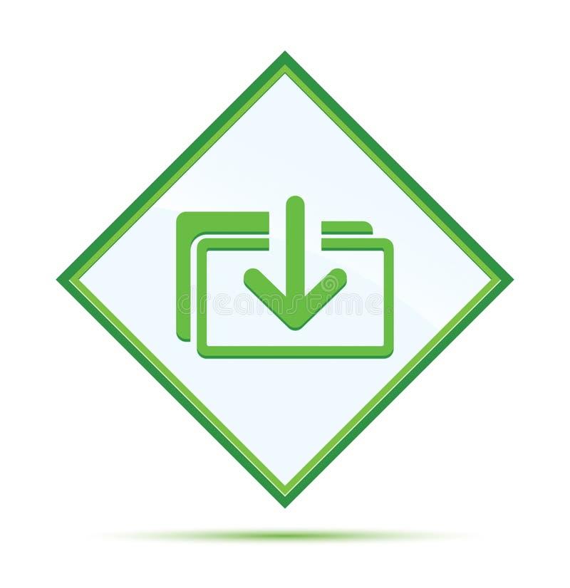 下载文件象现代抽象绿色金刚石按钮 皇族释放例证