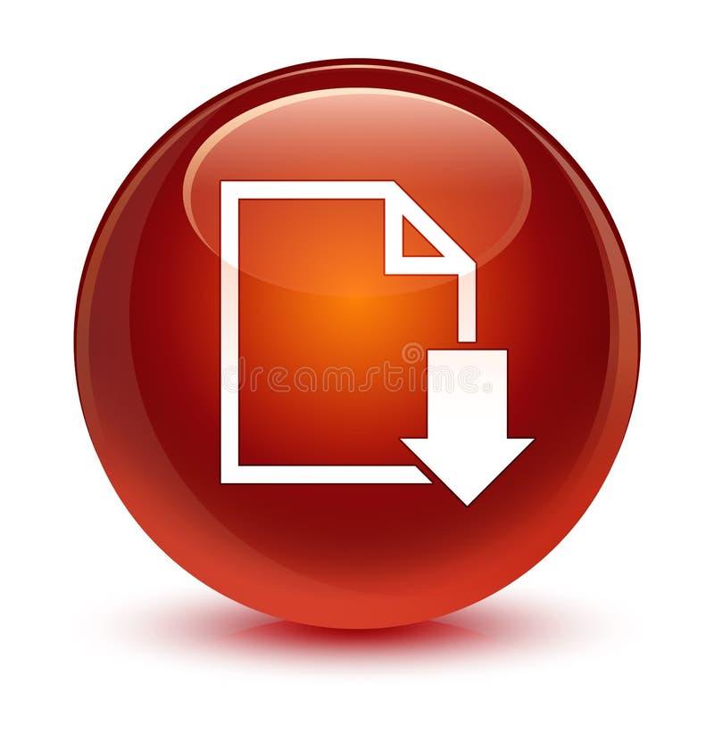 下载文件象玻璃状棕色圆的按钮 库存例证