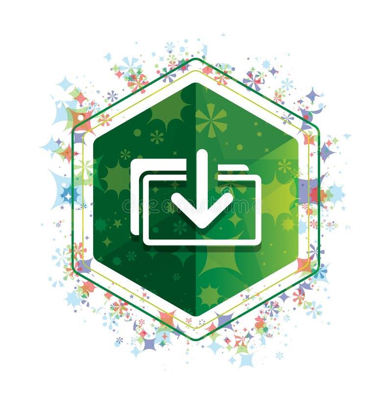 下载文件象花卉植物样式绿色六角形按钮 库存例证