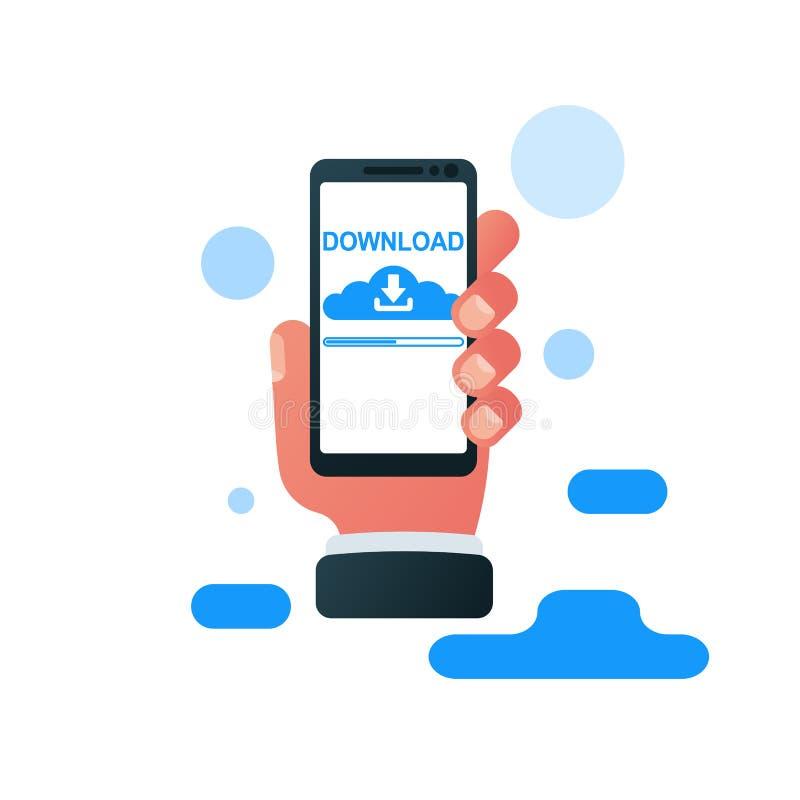 下载智能手机象 在屏幕上的文件下载 库存例证