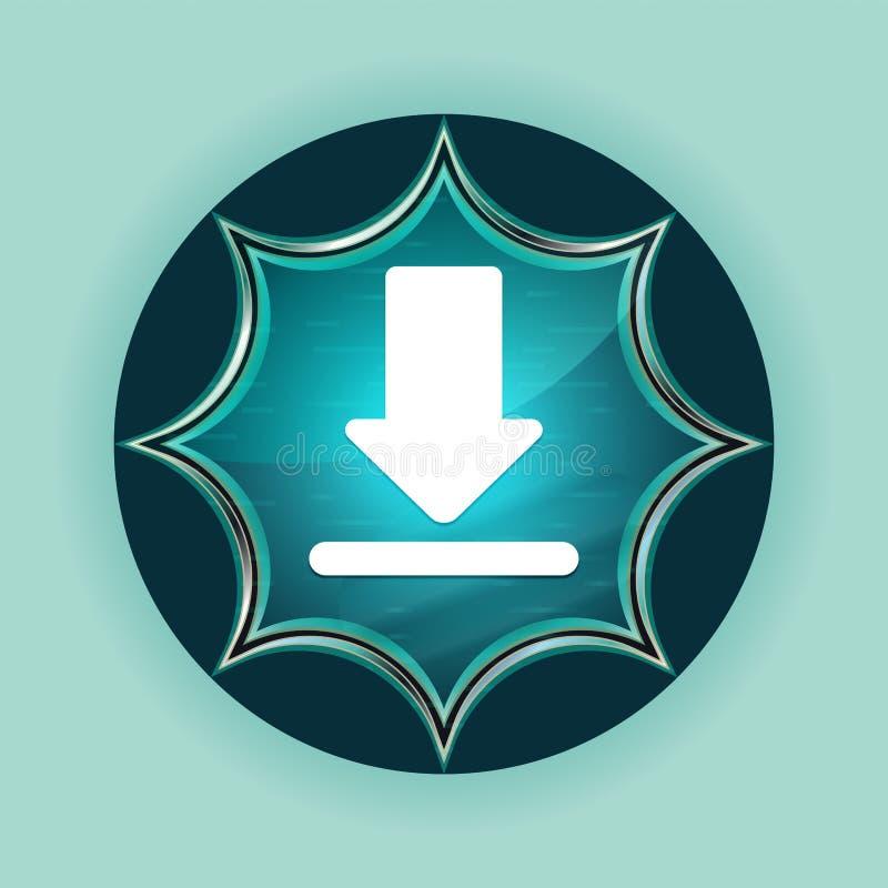 下载象不可思议的玻璃状镶有钻石的旭日形首饰的蓝色按钮天蓝色背景 向量例证