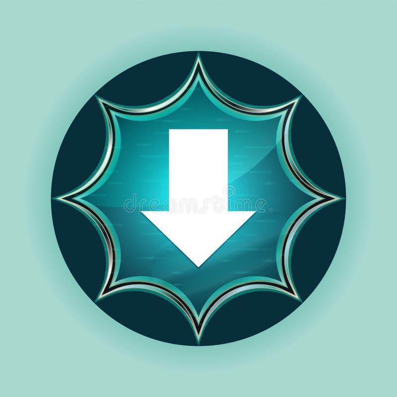 下载象不可思议的玻璃状镶有钻石的旭日形首饰的蓝色按钮天蓝色背景 皇族释放例证