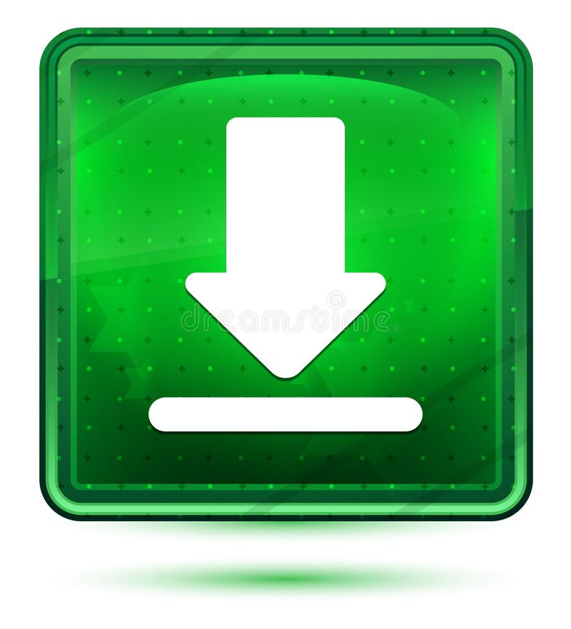 下载象霓虹浅绿色的方形的按钮 库存例证