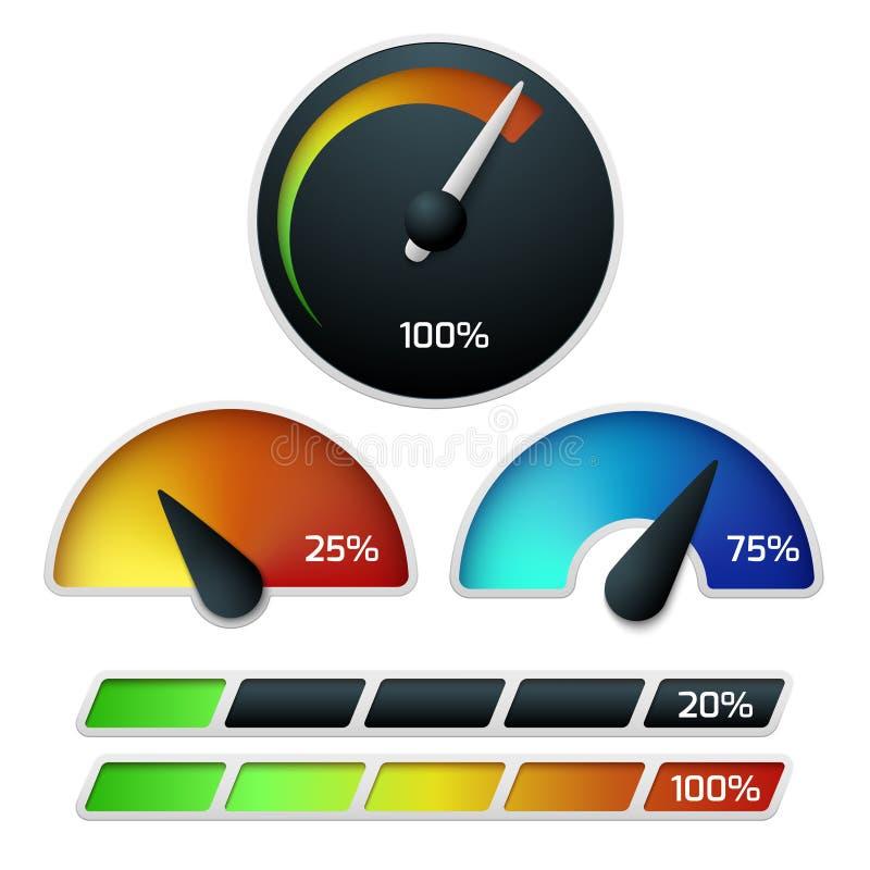 下载车速表传染媒介集合 库存例证