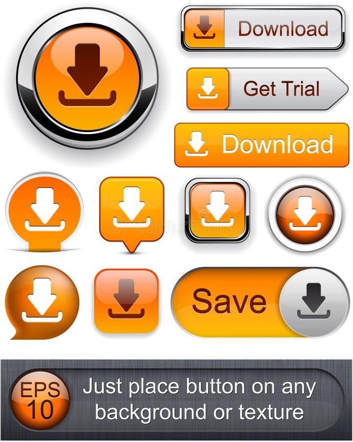 下载高详细现代按钮。 向量例证