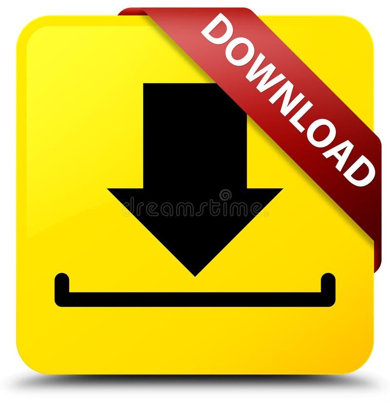 下载黄色方形的在角落的按钮红色丝带 库存例证