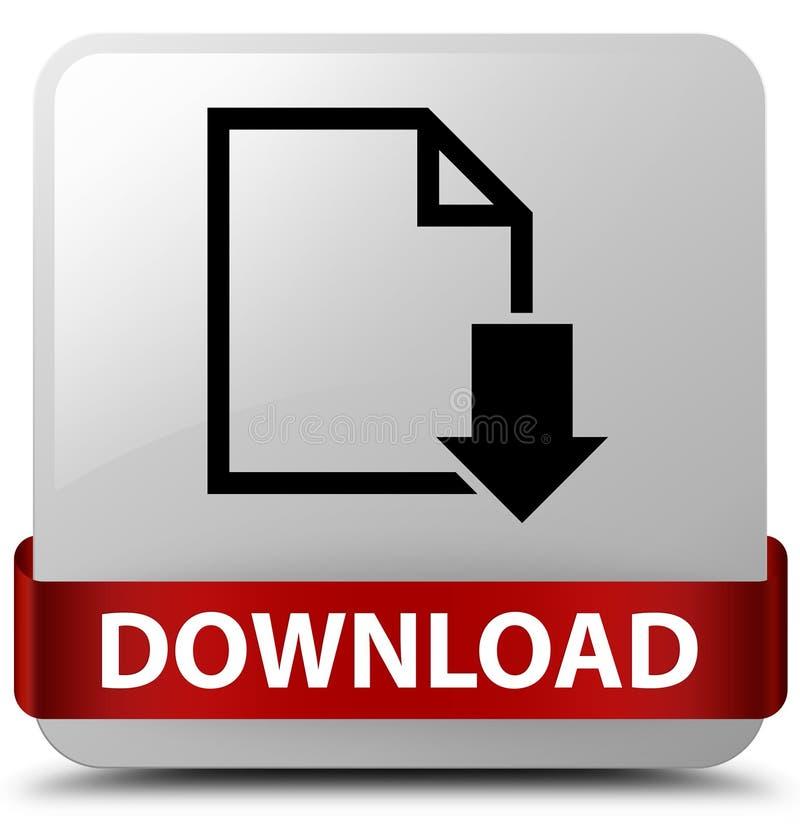 下载(文件象)在middl的白方块按钮红色丝带 库存例证