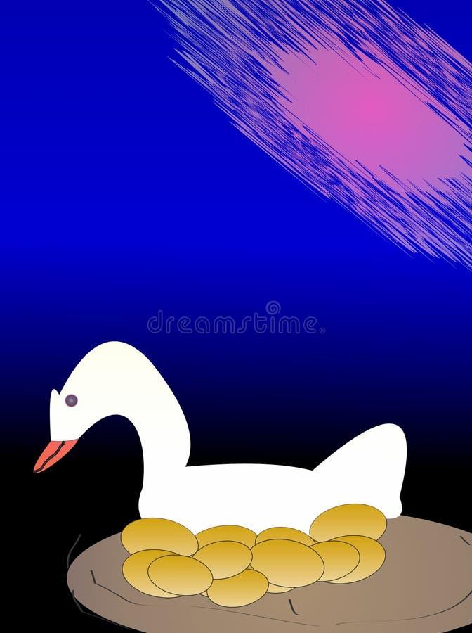 下金黄鸡蛋的鹅 免版税图库摄影