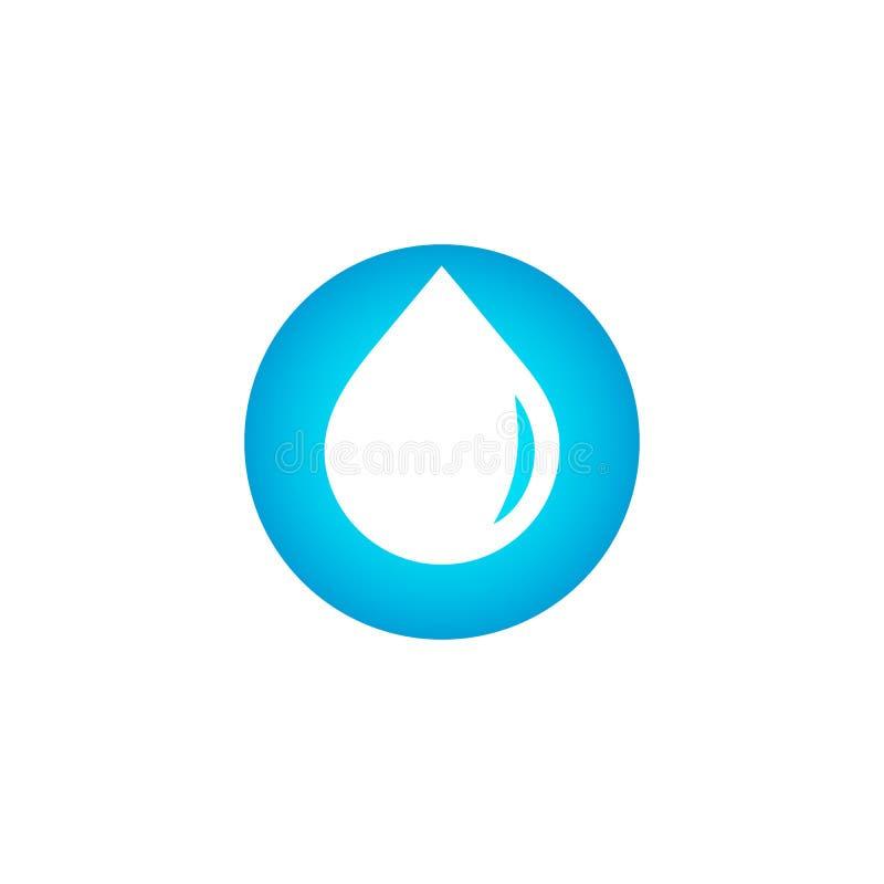 下降商标,净水标志,蓝色小滴传染媒介象,水色在白色背景的设计标志 新饮料略写法 向量例证