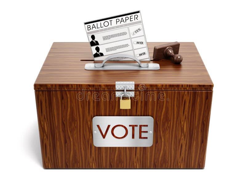 下降查出的政治红色白色的背景选票蓝色框 皇族释放例证