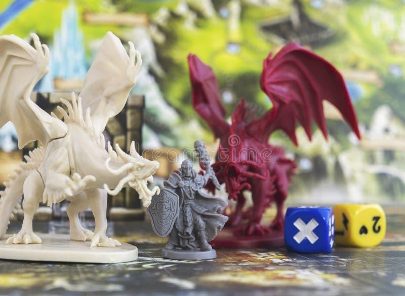 下降棋、角色打比赛的,土牢和龙, dnd 库存照片