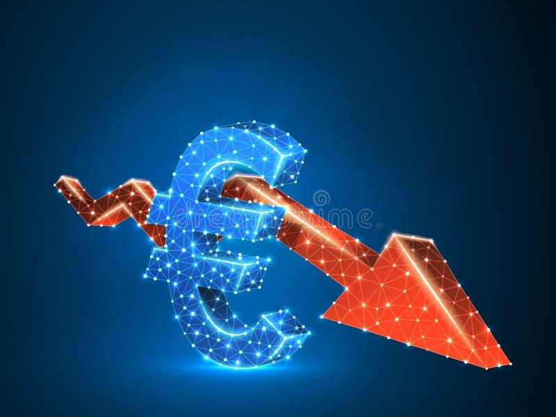 下降趋势红色箭头欧元图3d导航多角形cryptocurrency低多事务,崩溃,现金,财务概念 库存例证