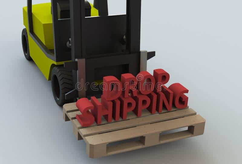 下降运输,在木pillet的消息与叉架起货车 皇族释放例证